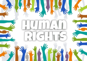 Human Rights Graphic with Raised Hands
